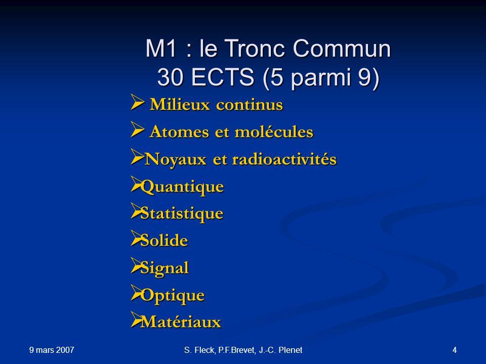 9 mars 2007 4S. Fleck, P.F.Brevet, J.-C. Plenet M1 : le Tronc Commun 30 ECTS (5 parmi 9) Milieux continus Milieux continus Atomes et molécules Atomes