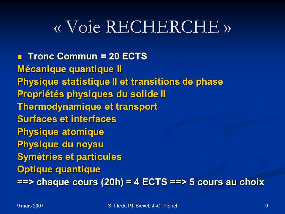 9 mars 2007 9S. Fleck, P.F.Brevet, J.-C. Plenet « Voie RECHERCHE » Tronc Commun = 20 ECTS Tronc Commun = 20 ECTS Mécanique quantique II Physique stati