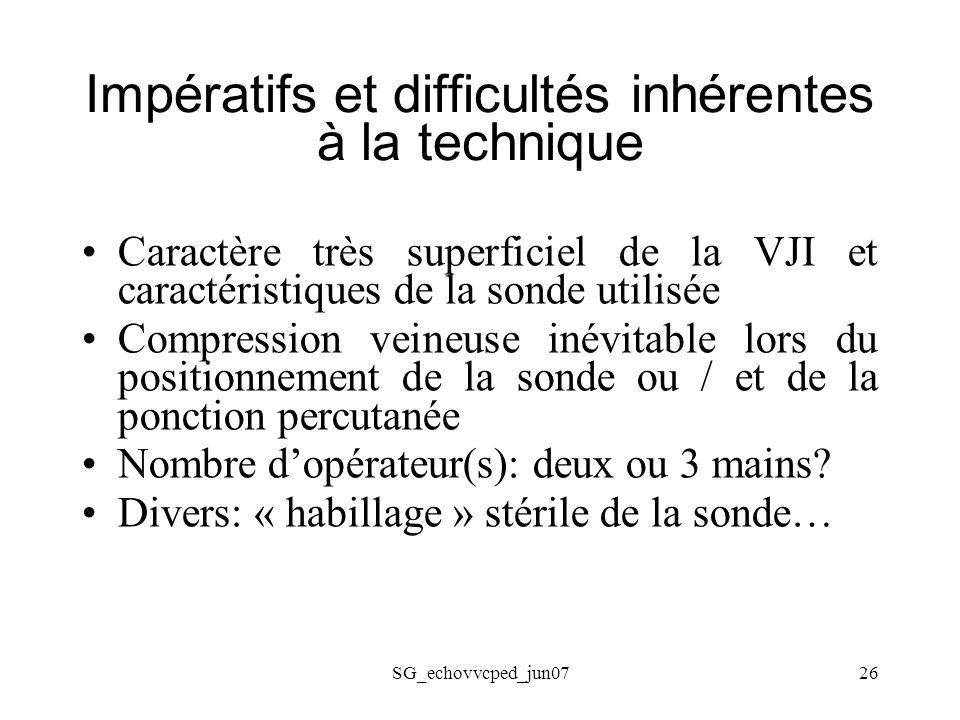 SG_echovvcped_jun0726 Impératifs et difficultés inhérentes à la technique Caractère très superficiel de la VJI et caractéristiques de la sonde utilisé