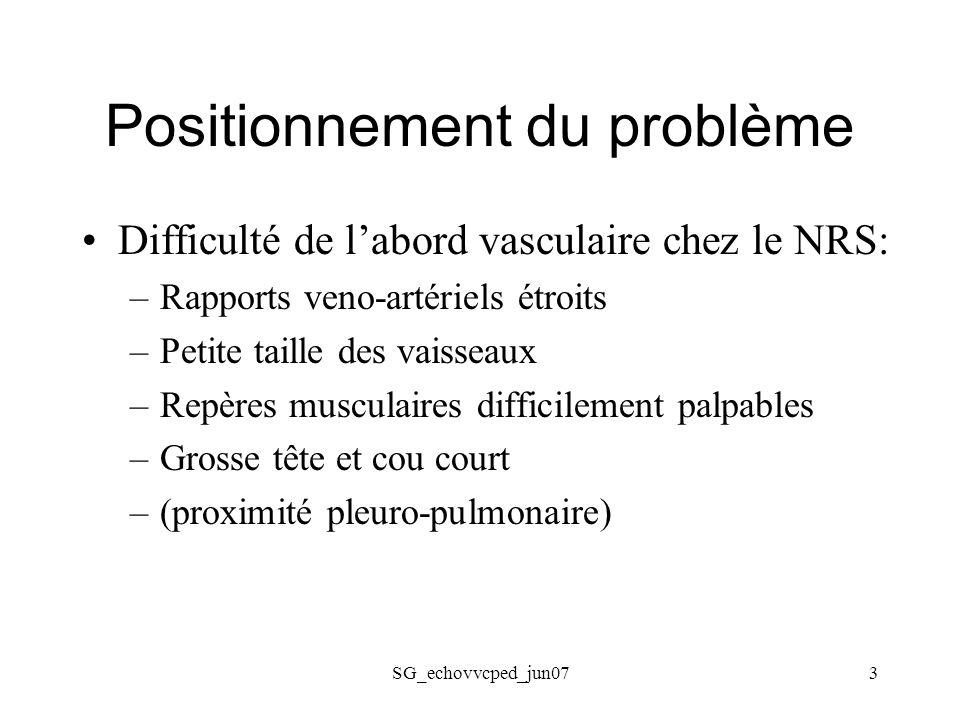 SG_echovvcped_jun073 Positionnement du problème Difficulté de labord vasculaire chez le NRS: –Rapports veno-artériels étroits –Petite taille des vaiss