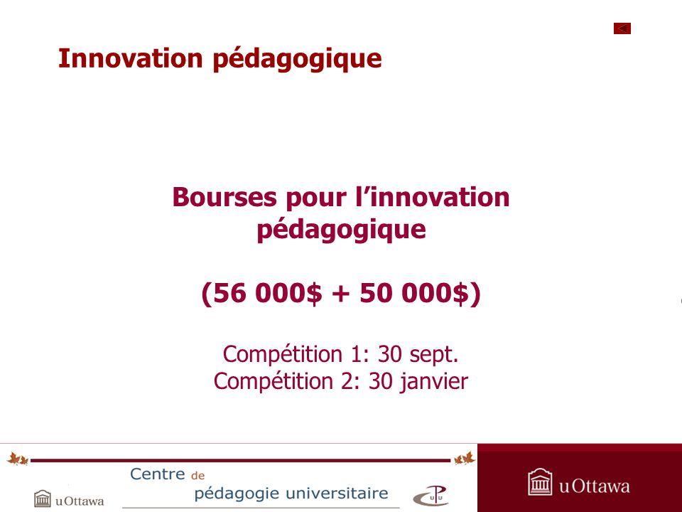 OPAS Summer Institute 2005 Bourses pour linnovation pédagogique (56 000$ + 50 000$) Compétition 1: 30 sept.