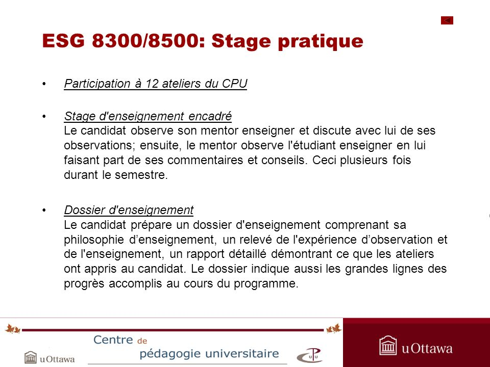 OPAS Summer Institute 2005 ESG 8300/8500: Stage pratique Participation à 12 ateliers du CPU Stage d'enseignement encadré Le candidat observe son mento