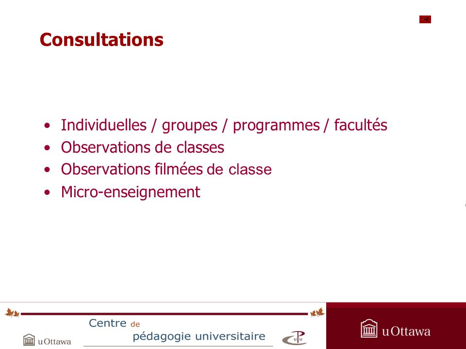 OPAS Summer Institute 2005 Consultations Individuelles / groupes / programmes / facultés Observations de classes Observations filmées de classe Micro-