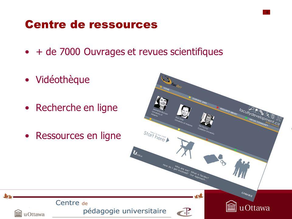 Centre de ressources + de 7000 Ouvrages et revues scientifiques Vidéothèque Recherche en ligne Ressources en ligne