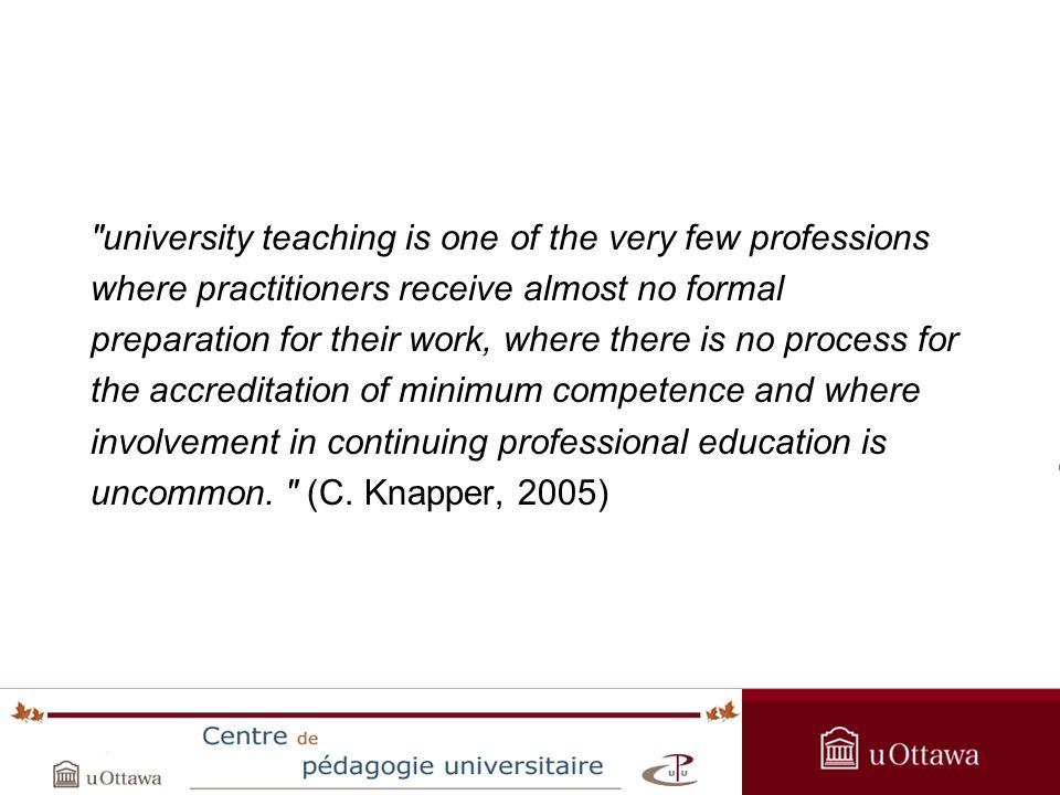 OPAS Summer Institute 2005 ESG5500 : Théories et pratiques de lenseignement universitaire Le cours aborde 3 domaines: la recherche et les théories de l enseignement universitaire au premier cycle le développement d outils et de stratégies pour l enseignement universitaire l intégration des technologies éducatives dans l enseignement universitaire