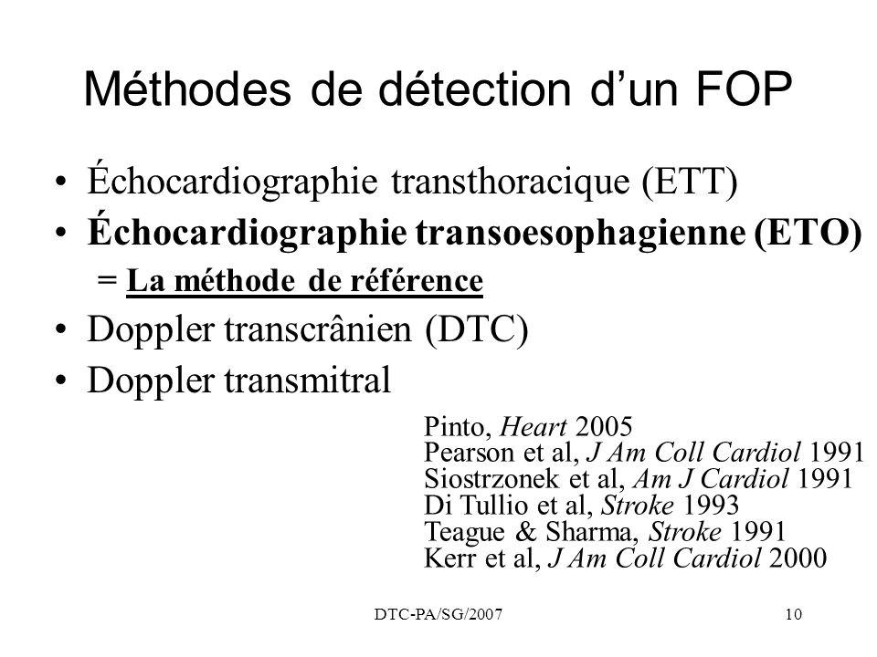 DTC-PA/SG/200710 Méthodes de détection dun FOP Échocardiographie transthoracique (ETT) Échocardiographie transoesophagienne (ETO) = La méthode de réfé