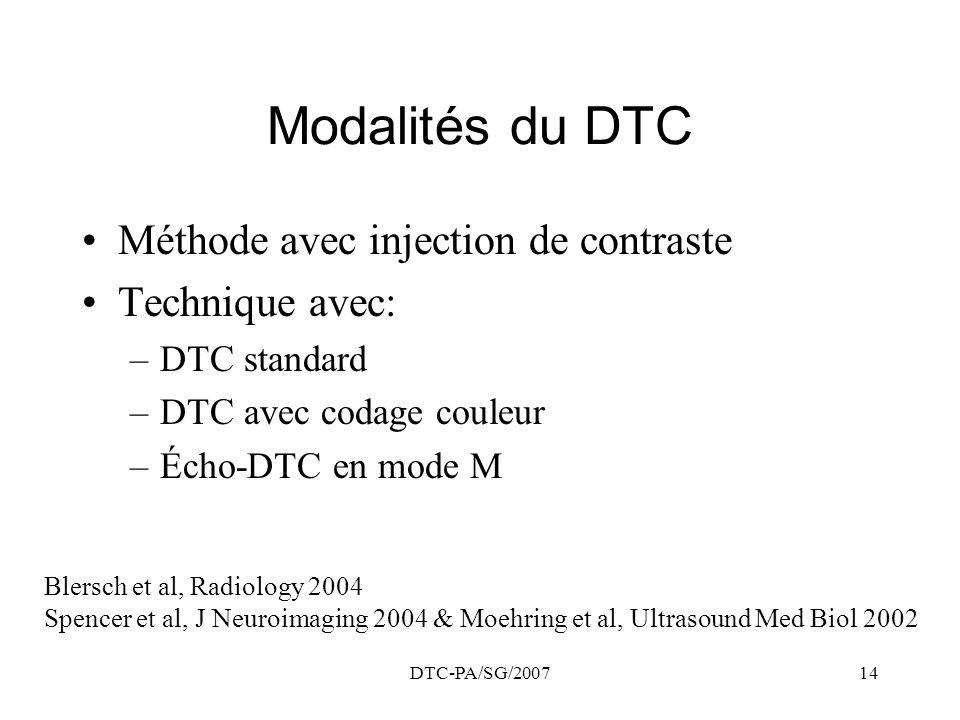 DTC-PA/SG/200714 Modalités du DTC Méthode avec injection de contraste Technique avec: –DTC standard –DTC avec codage couleur –Écho-DTC en mode M Blers