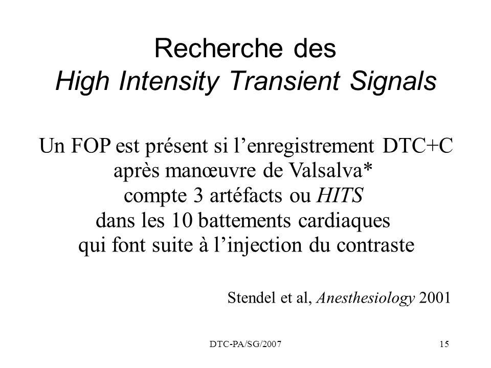 DTC-PA/SG/200715 Recherche des High Intensity Transient Signals Un FOP est présent si lenregistrement DTC+C après manœuvre de Valsalva* compte 3 artéf