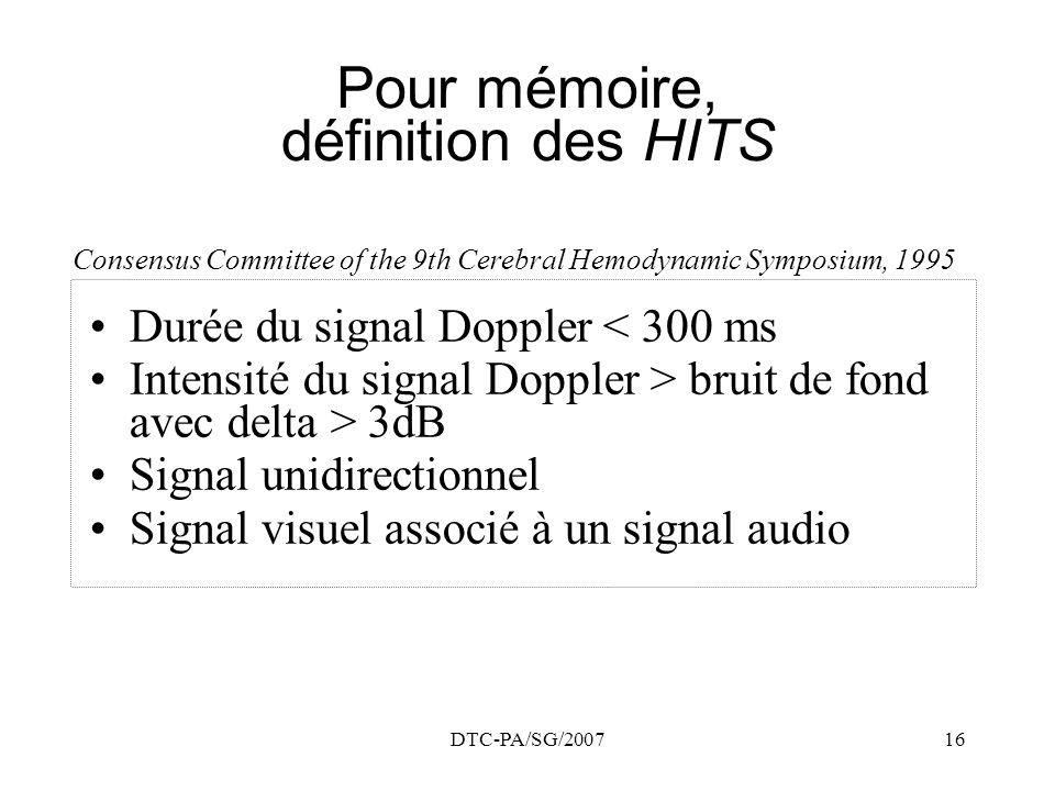 DTC-PA/SG/200716 Pour mémoire, définition des HITS Durée du signal Doppler < 300 ms Intensité du signal Doppler > bruit de fond avec delta > 3dB Signa