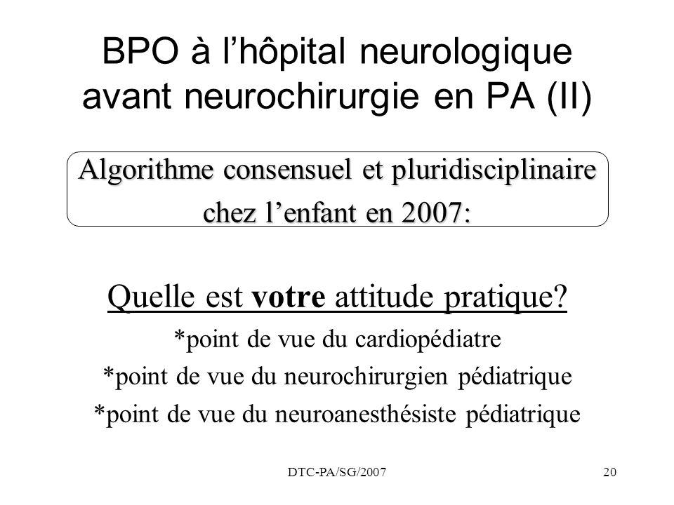 DTC-PA/SG/200720 BPO à lhôpital neurologique avant neurochirurgie en PA (II) Algorithme consensuel et pluridisciplinaire chez lenfant en 2007: Quelle