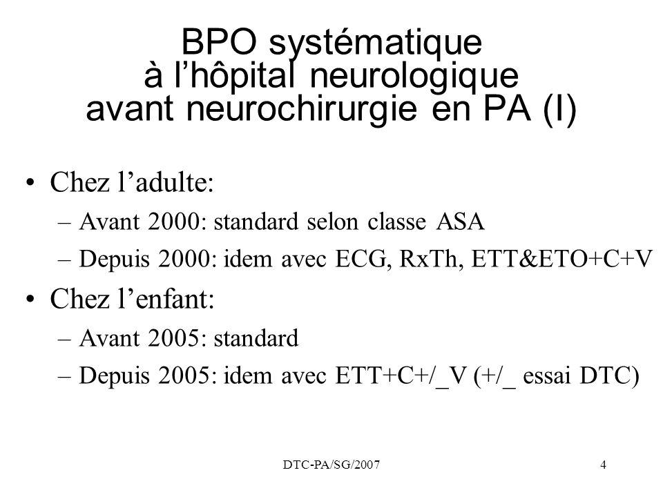 DTC-PA/SG/20074 BPO systématique à lhôpital neurologique avant neurochirurgie en PA (I) Chez ladulte: –Avant 2000: standard selon classe ASA –Depuis 2