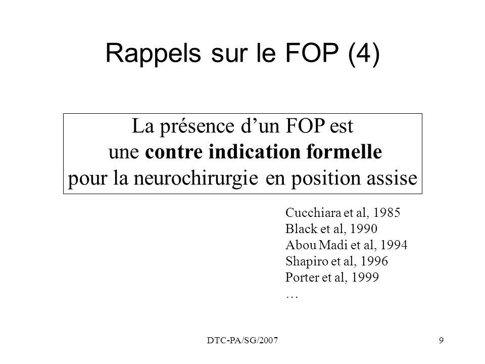 DTC-PA/SG/20079 Rappels sur le FOP (4) La présence dun FOP est une contre indication formelle pour la neurochirurgie en position assise Cucchiara et a