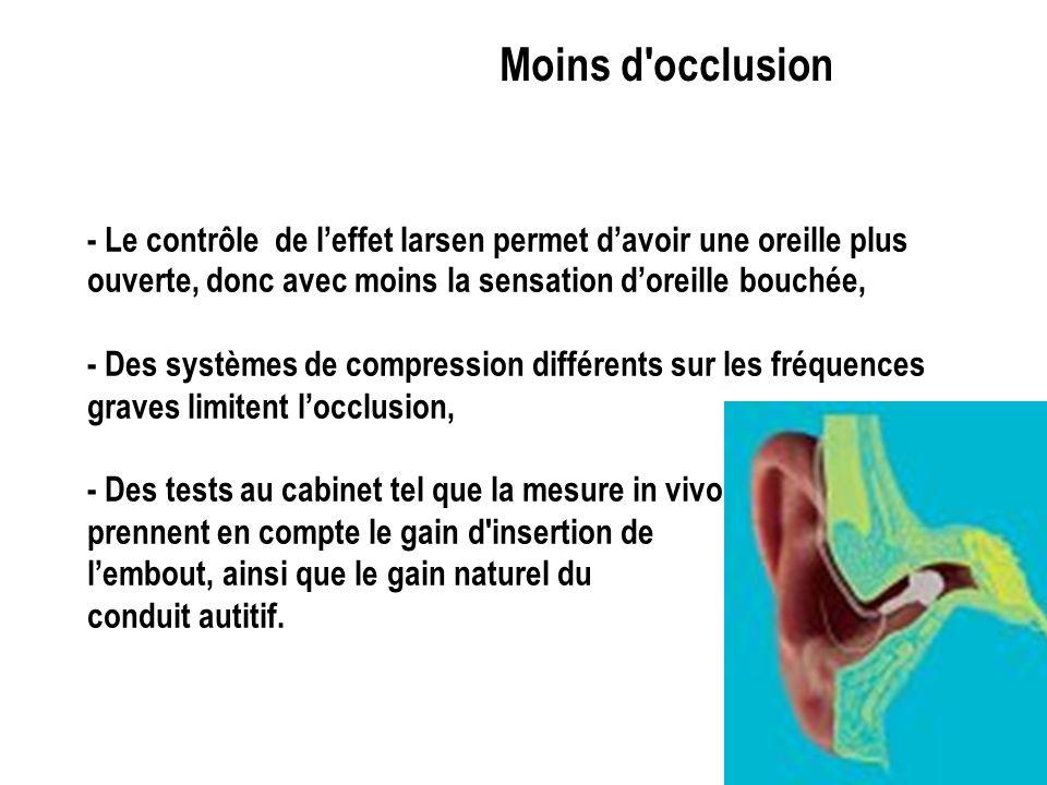 Moins de larsen - Systèmes actifs limitant leffet larsen (lembout peut être plus agréable à porter car il peut être plus ouvert), - Mise en marche ret