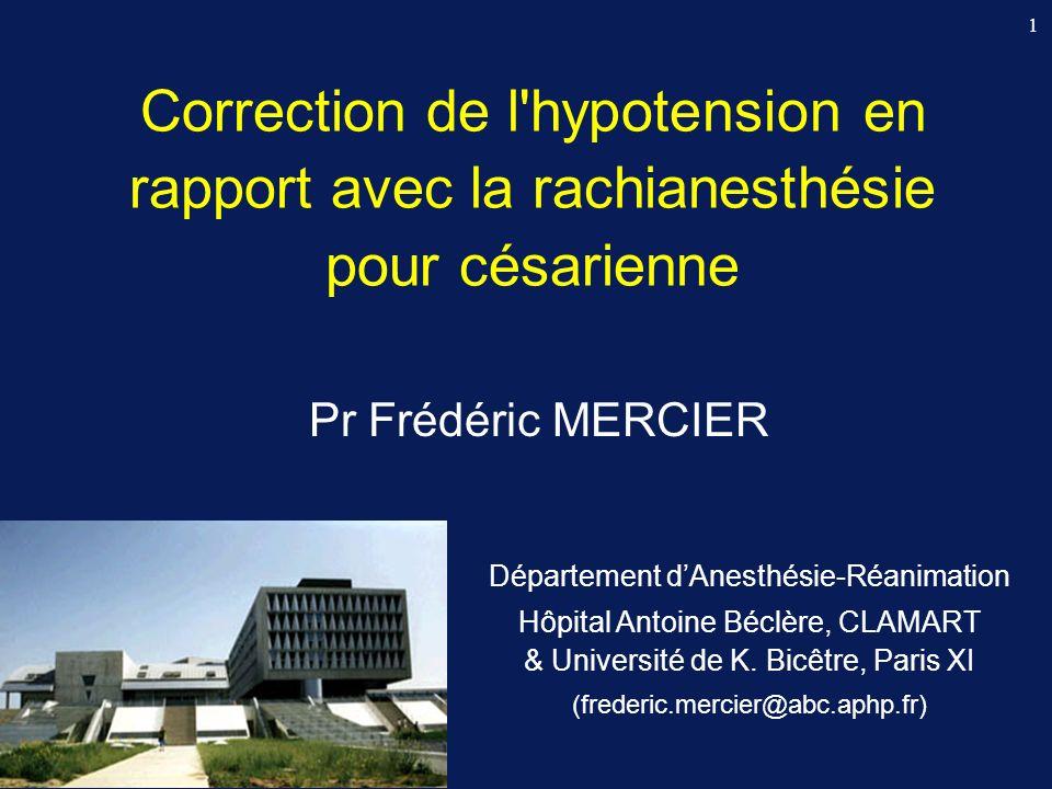 2 Sévérité et durée de lhypotension maternelle Acidose néonatale : si hypotension > 2 min (Corke 1982) Bradycardie fœtale : si PAS 4 min (Ebner 1960) si PAS 5 min (Hon 1960)