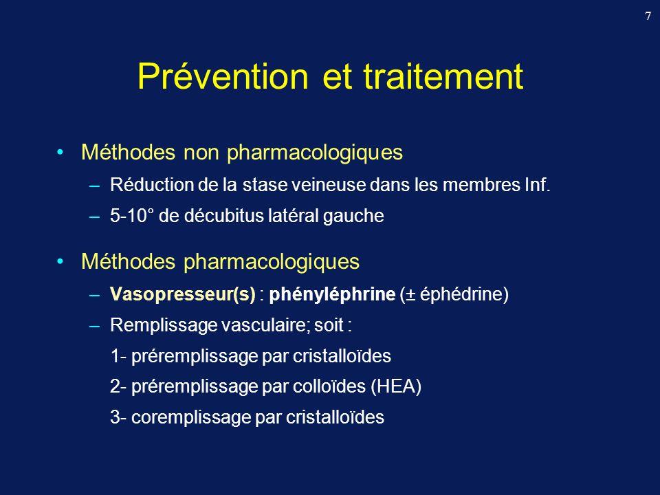 18 Vasopresseur(s) : Phényléphrine prophylactique (± éphédrine) Sharwood-Smith G, Drummond GB.