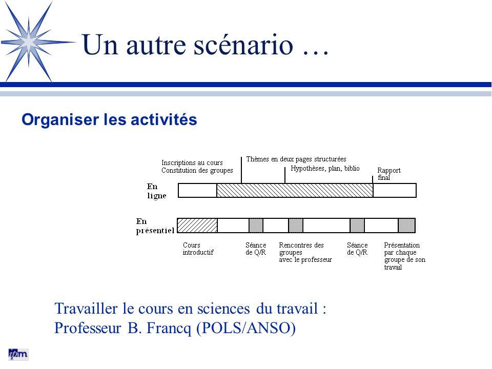 Un autre scénario … Organiser les activités Travailler le cours en sciences du travail : Professeur B.