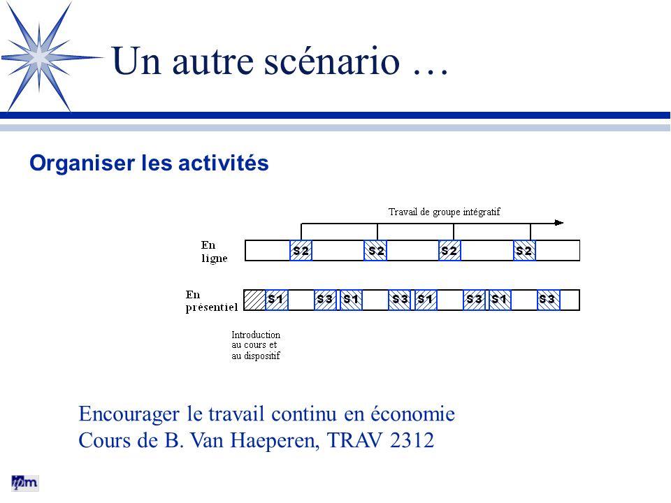 Un autre scénario … Organiser les activités Encourager le travail continu en économie Cours de B.