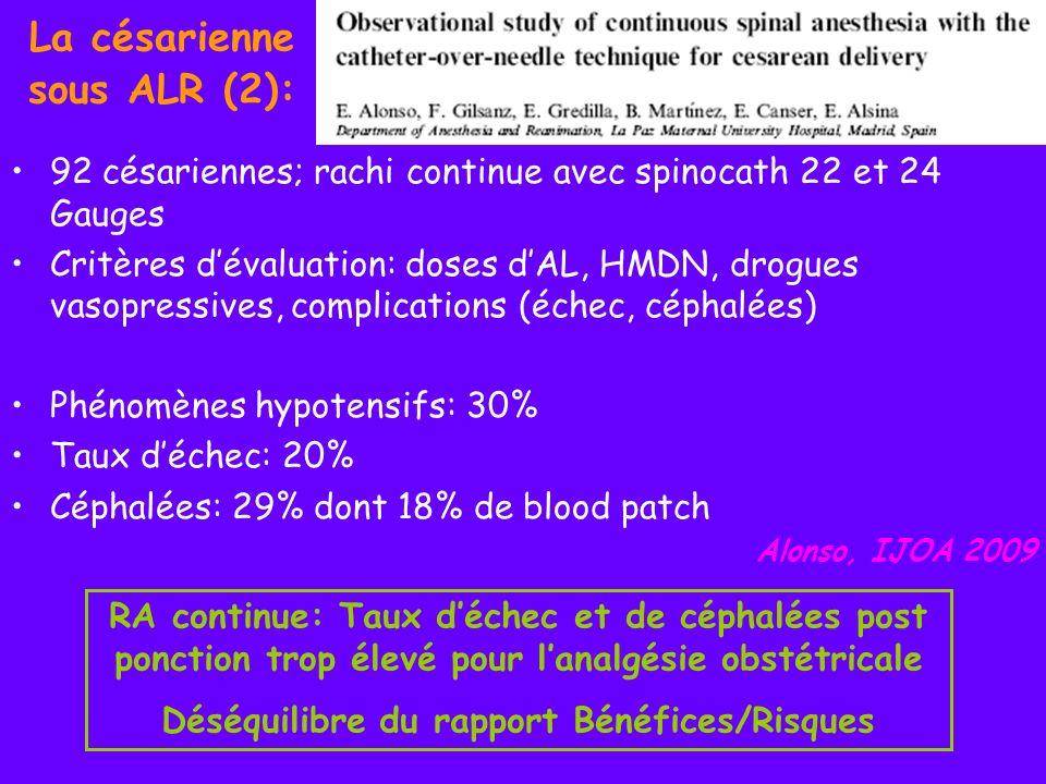 La césarienne sous ALR (2): Rachianesthésie versus RPC Hypothèse: bloc sensitif & moteur obtenu supérieur avec la CSE car hausse de pression intrathécale Étude prospective randomisée sur 30 césariennes RA single-shot versus CSE en DL: bupivacaïne HB 12 mg + fentanyl 10 mcg + morphine 200 mcg Mesure de la pression du LCR associée par fibre optique à partir de lespace péridural Horstman, Anesth Analg 2009