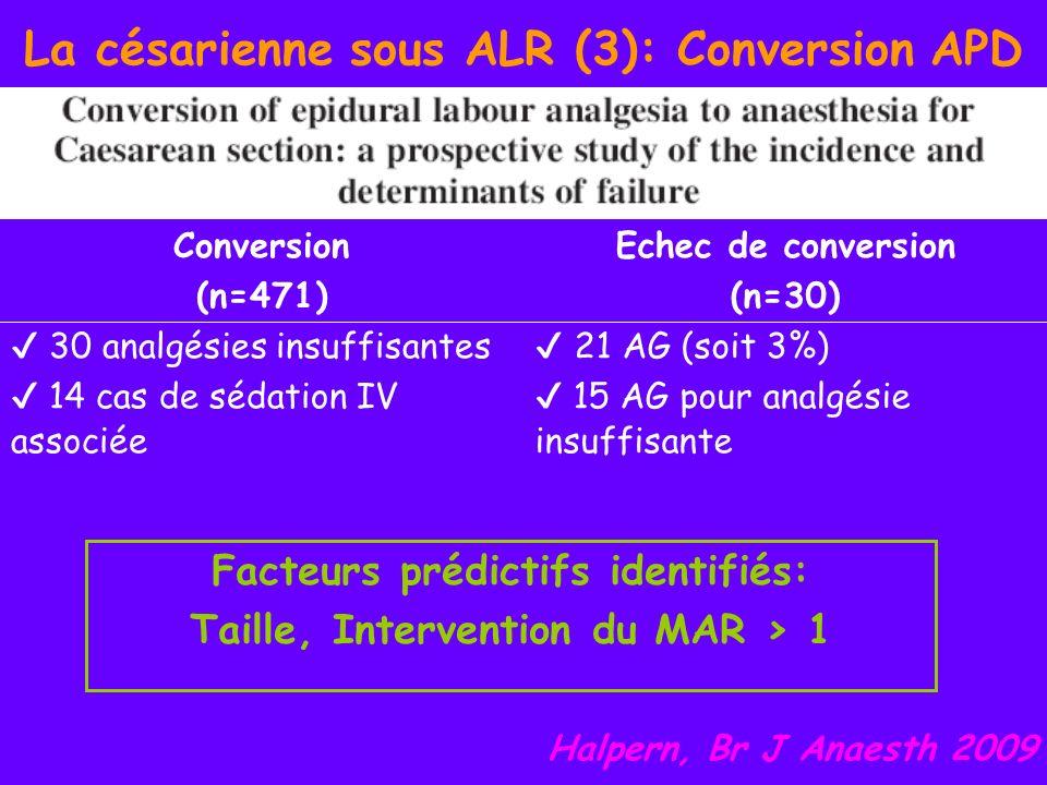 La césarienne sous ALR (3): Conversion APD Facteurs prédictifs identifiés: Taille, Intervention du MAR > 1 Conversion (n=471) Echec de conversion (n=3