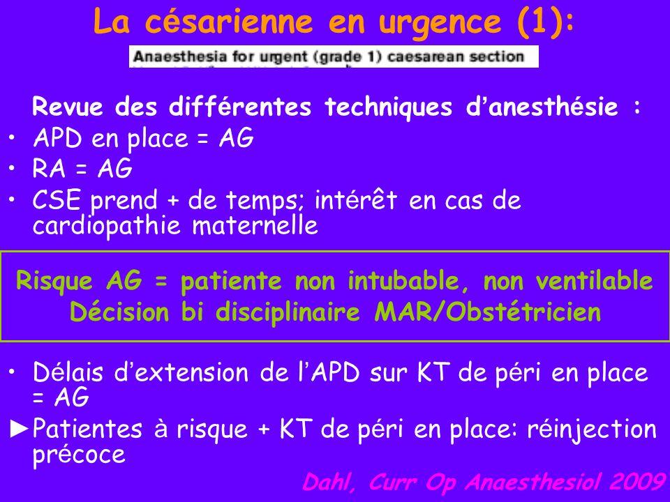 La c é sarienne en urgence (1): Revue des diff é rentes techniques d anesth é sie : APD en place = AG RA = AG CSE prend + de temps; int é rêt en cas d