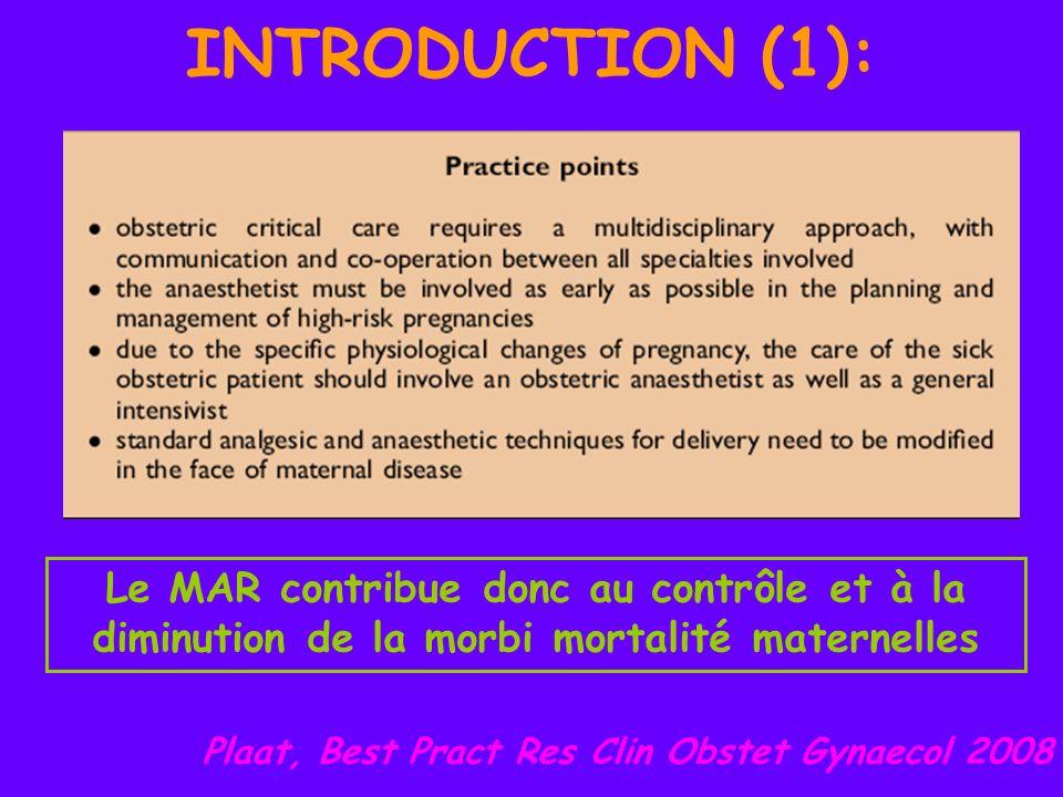 INTRODUCTION (1): Le MAR contribue donc au contrôle et à la diminution de la morbi mortalité maternelles Plaat, Best Pract Res Clin Obstet Gynaecol 20