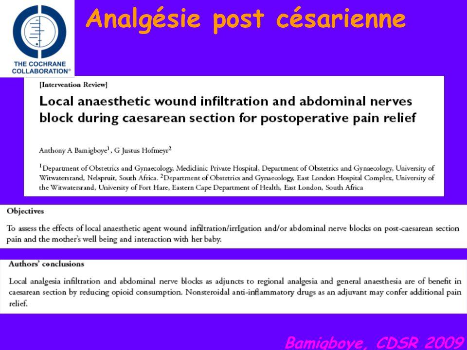 Analgésie post césarienne Bamigboye, CDSR 2009