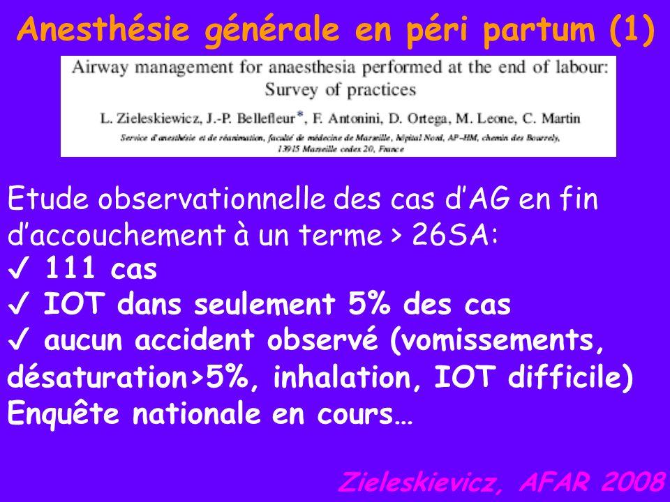 Anesthésie générale en péri partum (1) Etude observationnelle des cas dAG en fin daccouchement à un terme > 26SA: 111 cas IOT dans seulement 5% des ca