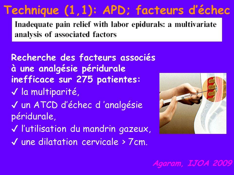 Technique (1,1): APD; facteurs déchec Recherche des facteurs associés à une analgésie péridurale inefficace sur 275 patientes: la multiparité, un ATCD