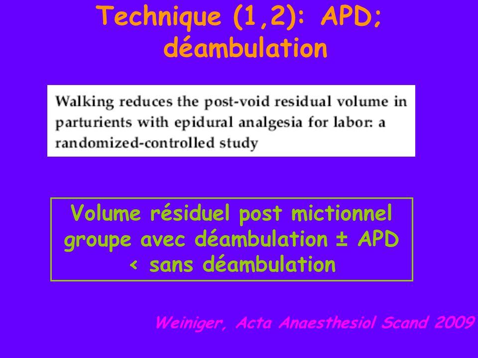Technique (2): APD + ponction durale Cappiello, Anesth Analg Nov 2008: Amélioration de lanalgésie péridurale quand ponction rachidienne associée Horstman, Anesth Analg 2009: Pas de modification de la pression intrathécale quand ponction durale associée une ponction péridurale étude prospective, randomisée sur 80 parturientes APD versus APD + ponction durale 25G sans injection S1 + souvent bloquée; pas de de niveau supérieur EVA<10/100 à 20 min Moins de latéralisations Ponction durale associée = amélioration de lanalgésie étude prospective, randomisée sur 30 parturientes RA versus CSE avec mesure de la pression intrathécale pas de significative de la pression intra rachidienne ni du niveau métamérique supérieur obtenu, ni des doses damines vasopressives Ponction durale associée= Pas de modification de la pression intrathécale