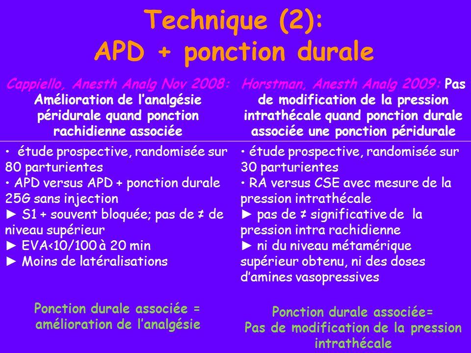 Technique (2): APD + ponction durale Cappiello, Anesth Analg Nov 2008: Amélioration de lanalgésie péridurale quand ponction rachidienne associée Horst