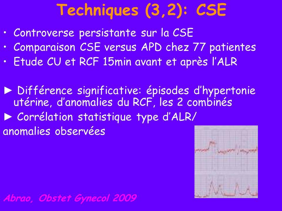Techniques (3,3): CSE Etude randomisée en double aveugle sur 100 multipares avec Δ < 5cm: APD: 3ml de bupi 0.25% puis 10ml de 0.125% + 25mcg de fentanyl; entretien bupi 0.625% + fentanyl 2 mcg/ml à 12 ml/h Versus CSE: RA avec 2.5mg de bupi + 25mcg de fentanyl; relais identique Goodman, Anesth Analg 2009 Les EVA sont significativement + basses à 10 et 30 min dans le groupe CSE