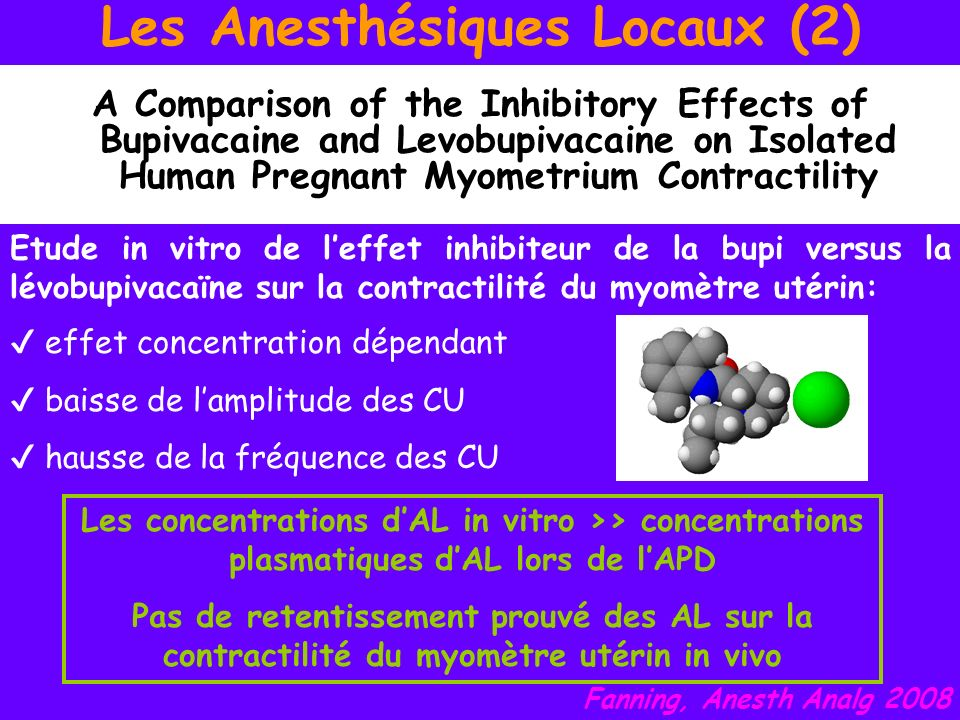 Les Anesthésiques Locaux (2) A Comparison of the Inhibitory Effects of Bupivacaine and Levobupivacaine on Isolated Human Pregnant Myometrium Contracti