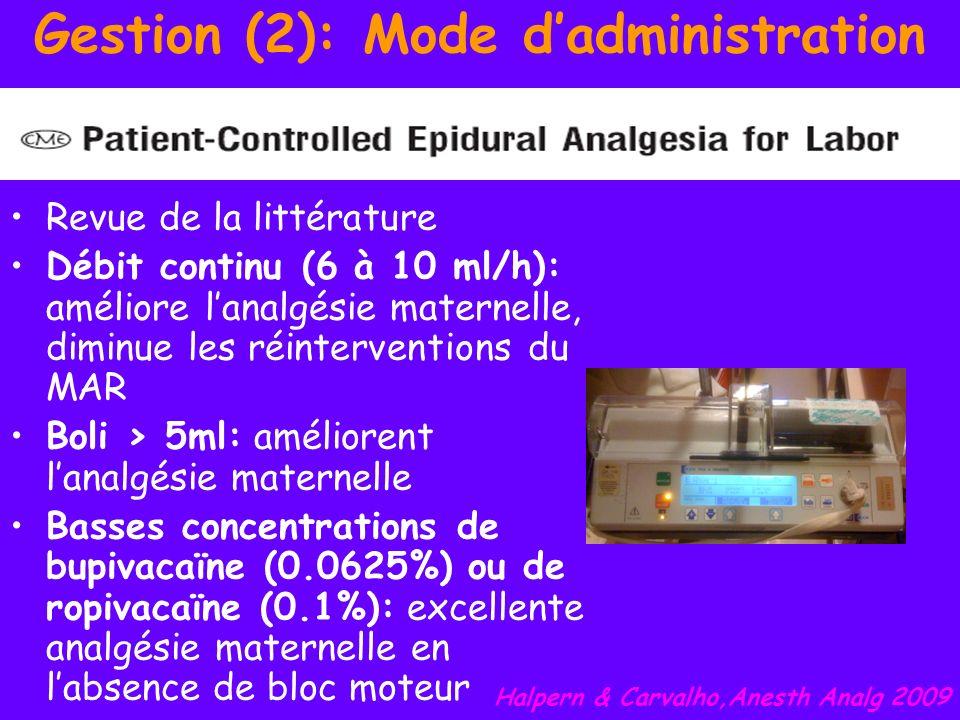 Gestion (2): Mode dadministration Revue de la littérature Débit continu (6 à 10 ml/h): améliore lanalgésie maternelle, diminue les réinterventions du