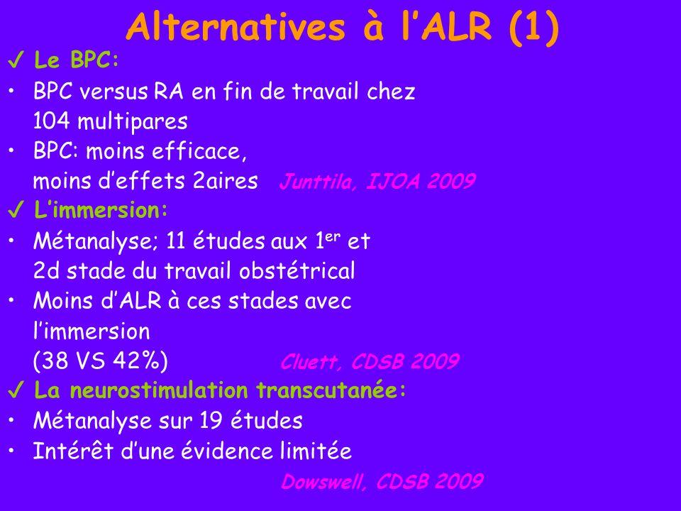 Alternatives à lALR (1) Le BPC: BPC versus RA en fin de travail chez 104 multipares BPC: moins efficace, moins deffets 2aires Junttila, IJOA 2009 Limm
