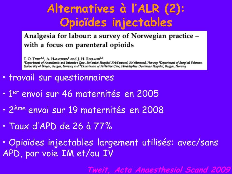 Alternatives à lALR (2): Opioïdes injectables travail sur questionnaires 1 er envoi sur 46 maternités en 2005 2 ème envoi sur 19 maternités en 2008 Ta