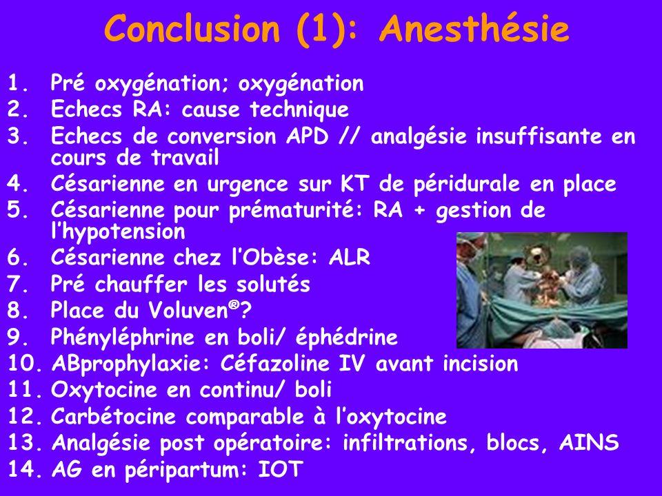 Conclusion (1): Anesthésie 1.Pré oxygénation; oxygénation 2.Echecs RA: cause technique 3.Echecs de conversion APD // analgésie insuffisante en cours d
