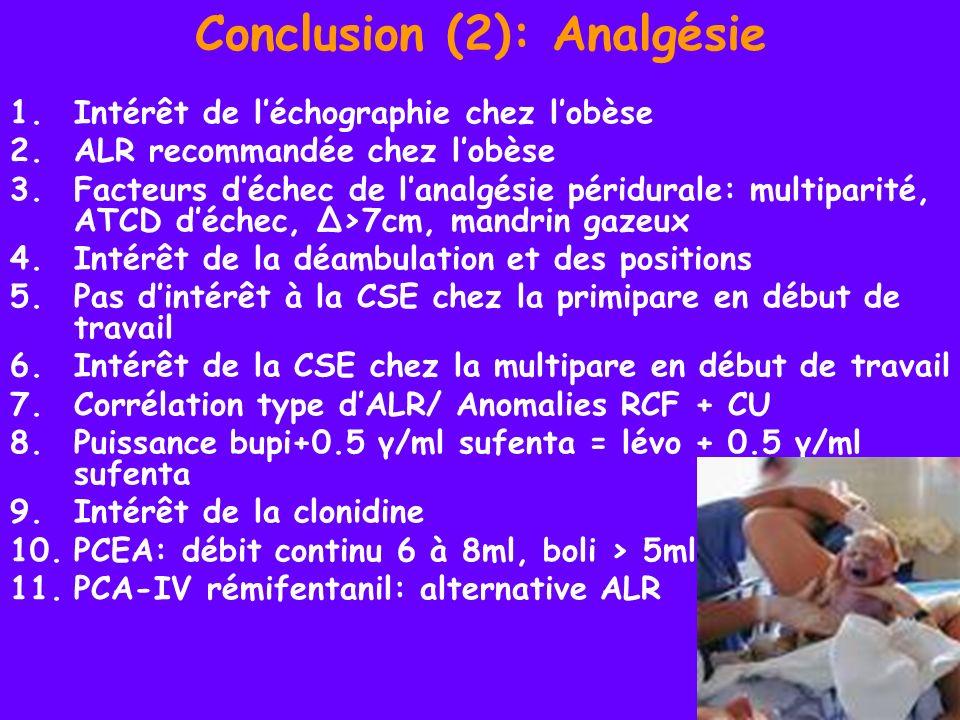 Conclusion (2): Analgésie 1.Intérêt de léchographie chez lobèse 2.ALR recommandée chez lobèse 3.Facteurs déchec de lanalgésie péridurale: multiparité,