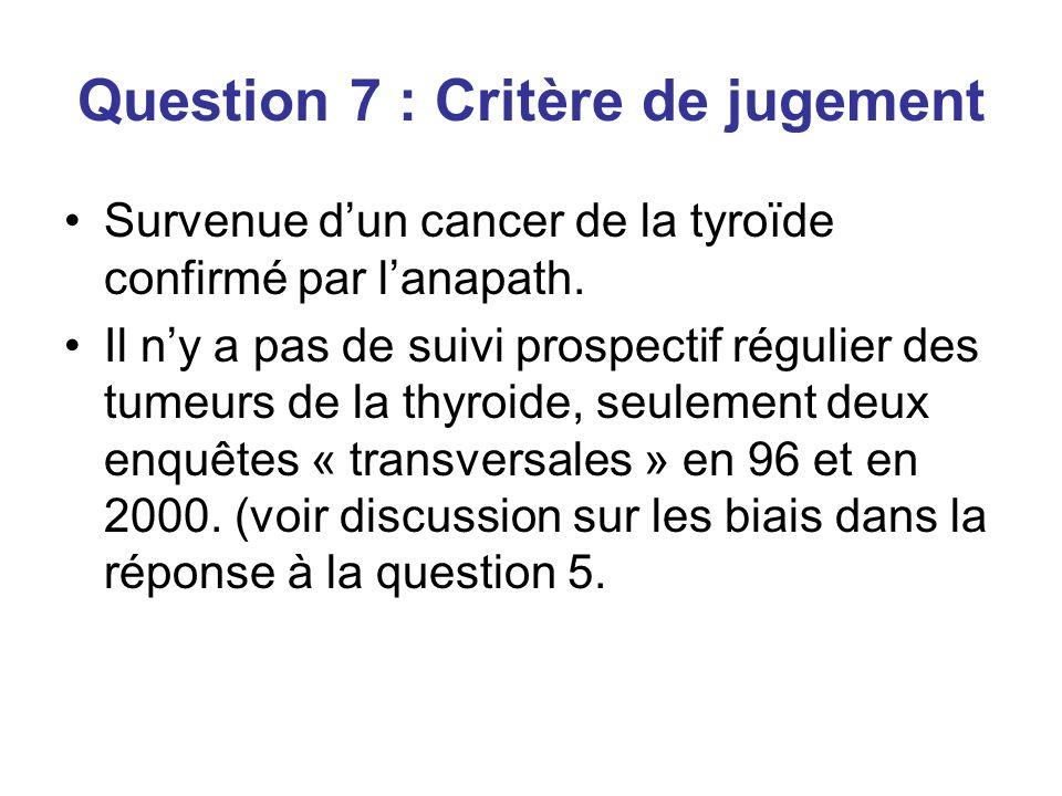 Question 7 : Critère de jugement Survenue dun cancer de la tyroïde confirmé par lanapath.