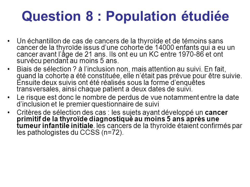 Question 8 : Population étudiée Un échantillon de cas de cancers de la thyroïde et de témoins sans cancer de la thyroïde issus dune cohorte de 14000 enfants qui a eu un cancer avant lâge de 21 ans.