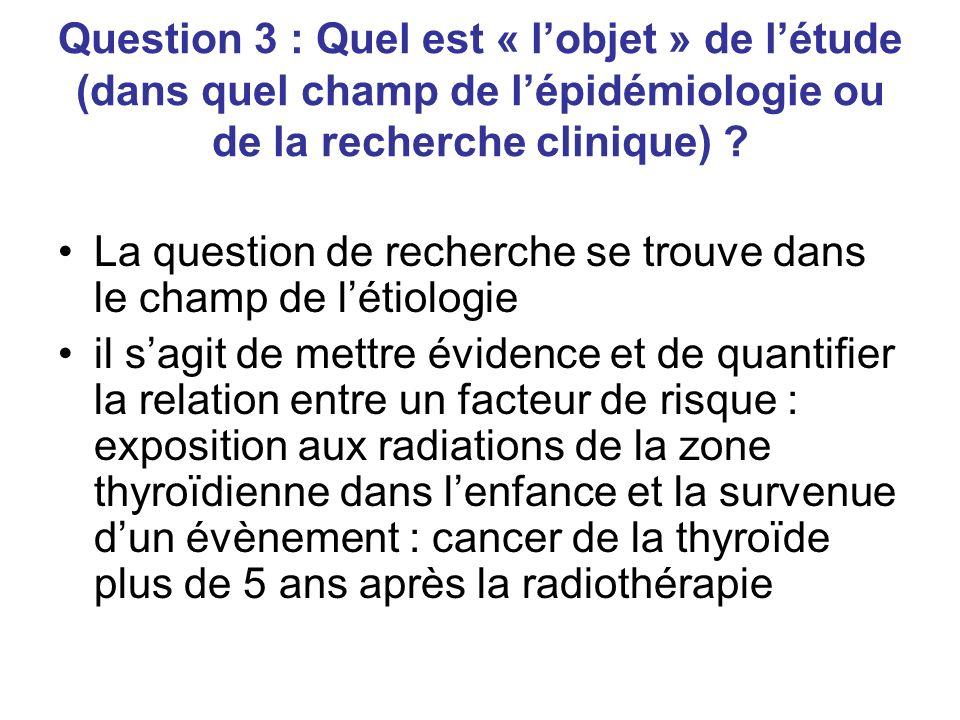 Question 3 : Quel est « lobjet » de létude (dans quel champ de lépidémiologie ou de la recherche clinique) .