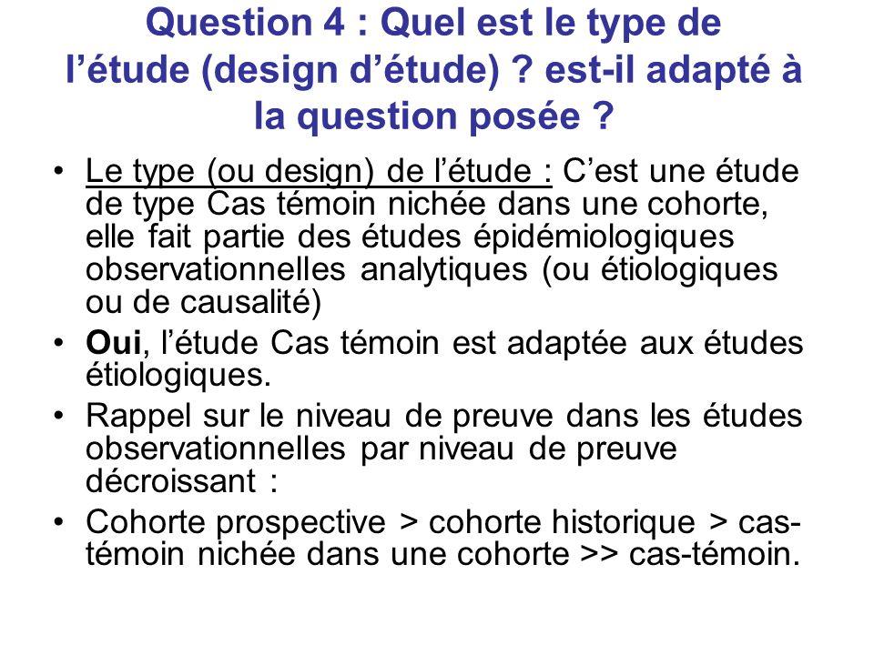 Question 4 : Quel est le type de létude (design détude) .