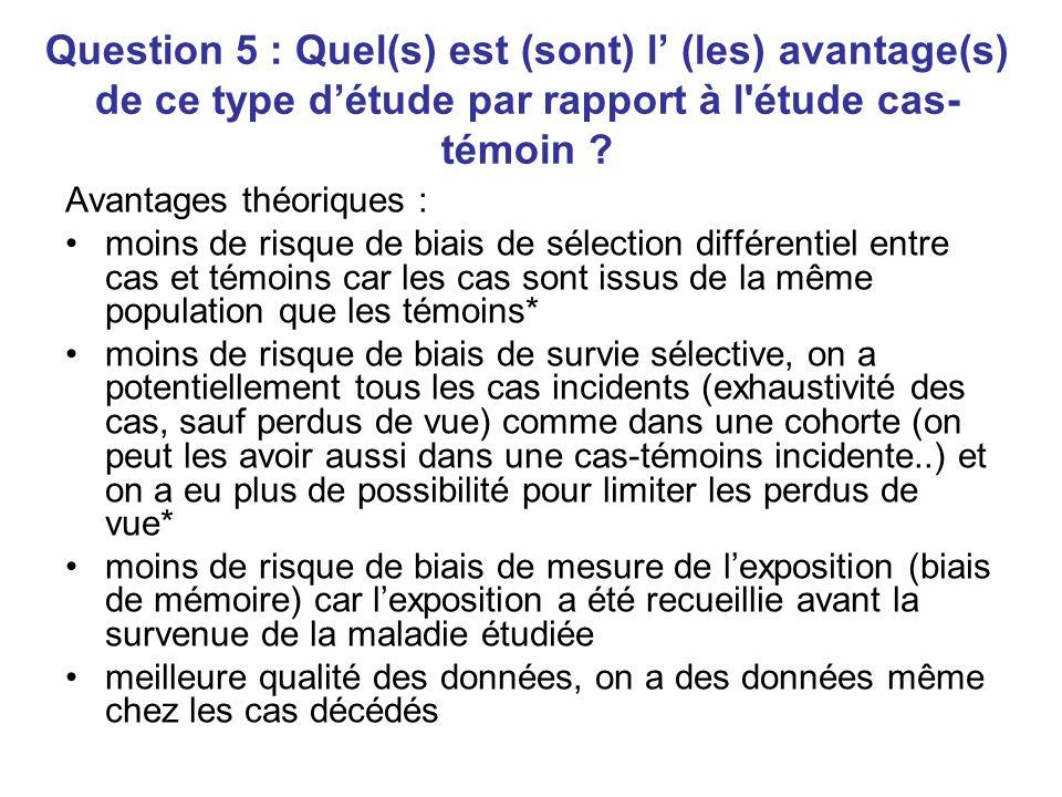 Question 5 : Quel(s) est (sont) l (les) avantage(s) de ce type détude par rapport à l étude cas- témoin .