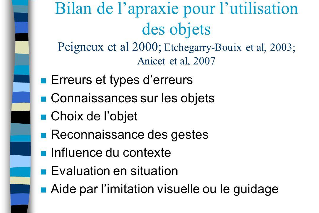 Bilan de lapraxie pour lutilisation des objets Peigneux et al 2000; Etchegarry-Bouix et al, 2003; Anicet et al, 2007 n Erreurs et types derreurs n Con