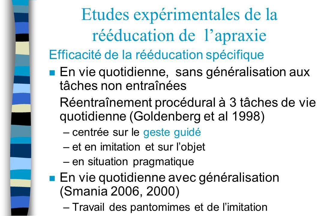 Etudes expérimentales de la rééducation de lapraxie Efficacité de la rééducation spécifique n En vie quotidienne, sans généralisation aux tâches non e