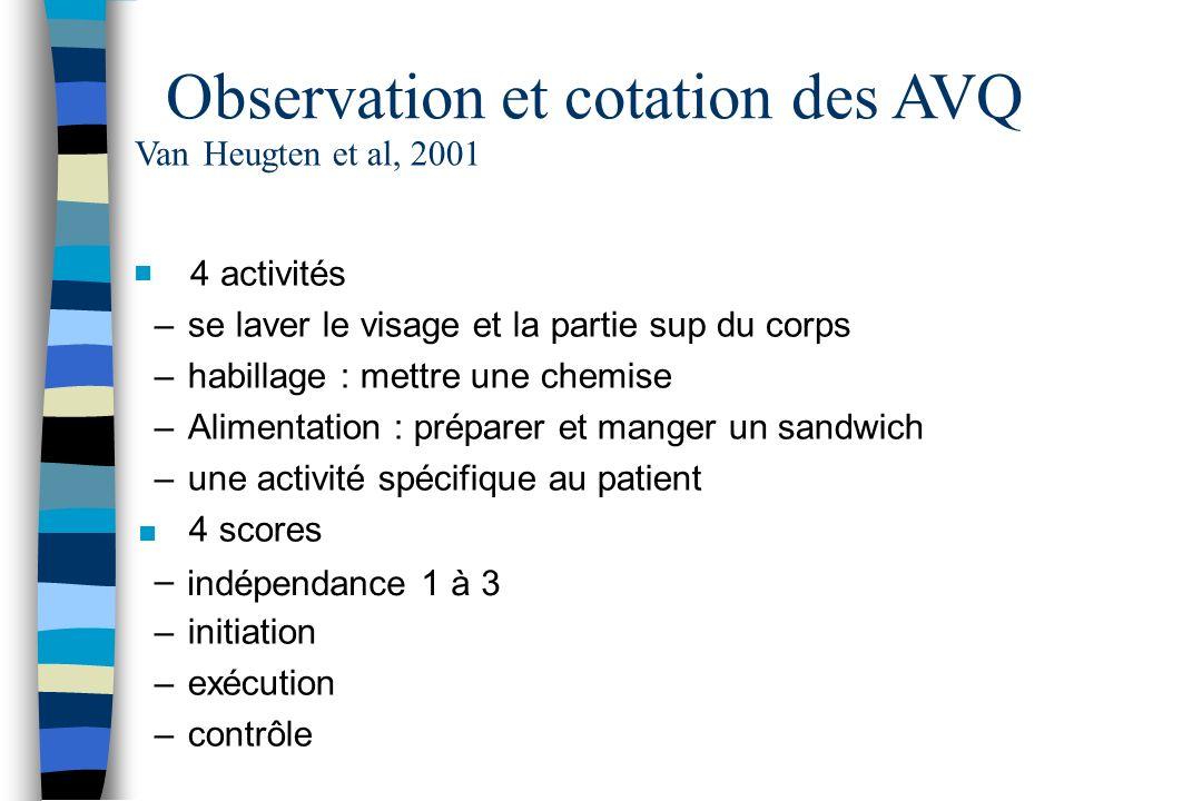 Observation et cotation des AVQ VanHeugtenet al, 2001 n 4 activités –se laver le visage et la partiesupdu corps –habillage : mettre une chemise –Alime
