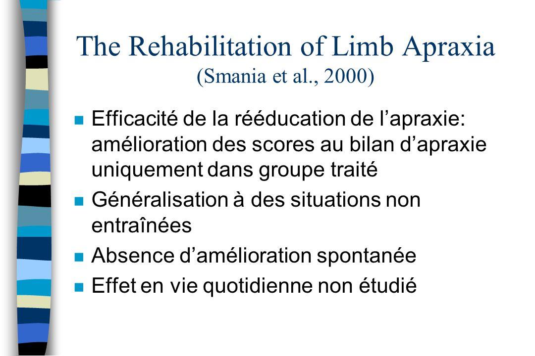 The Rehabilitation of Limb Apraxia (Smania et al., 2000) n Efficacité de la rééducation de lapraxie: amélioration des scores au bilan dapraxie uniquem