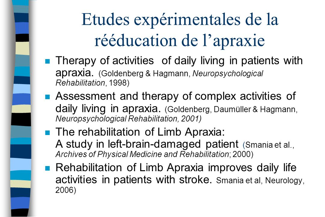 Etudes expérimentales de la rééducation de lapraxie n Therapy of activities of daily living in patients with apraxia. (Goldenberg & Hagmann, Neuropsyc