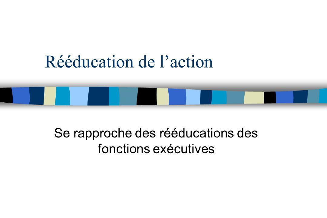 Rééducation de laction Se rapproche des rééducations des fonctions exécutives