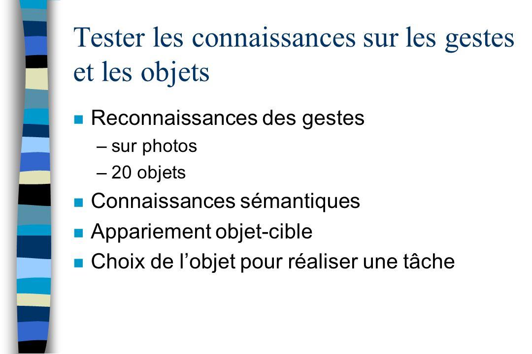 Tester les connaissances sur les gestes et les objets n Reconnaissances des gestes –sur photos –20 objets n Connaissances sémantiques n Appariement ob