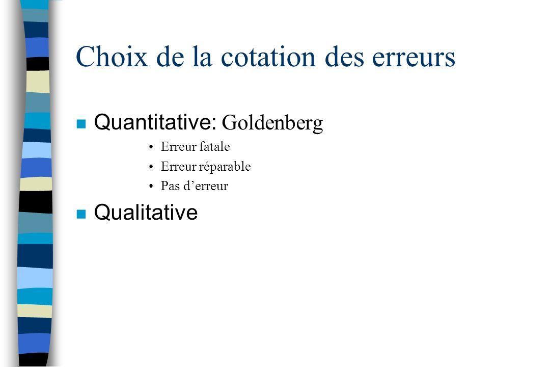 Choix de la cotation des erreurs Quantitative: Goldenberg Erreur fatale Erreur réparable Pas derreur n Qualitative